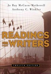 Readings for Writers 12th edition 9781413016291 1413016294