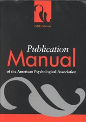 Publication Manual of the American Psychological Association 5th Edition 9781557987914 1557987912