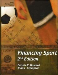 Financing Sport 2nd edition 9781885693389 1885693389