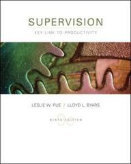 Supervision: Key Link to Productivity 9th Edition 9780073054391 0073054399