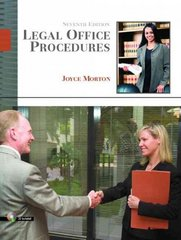 Legal Office Procedures 7th Edition 9780132209564 013220956X