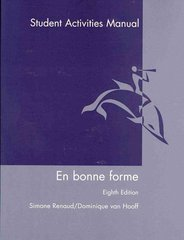 En Bonne Forme, Student Activities Manual 8th Edition 9780470428696 0470428694