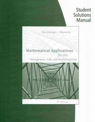Student Solutions Manual for Harshbarger/Reynolds' Mathematical Applications for the Management, Life, and Social Sciences 9th Edition 9780547169972 0547169973