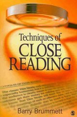Techniques of Close Reading 1st Edition 9781412972659 1412972655