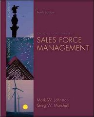 Sales Force Management 10th Edition 9780073404851 0073404853