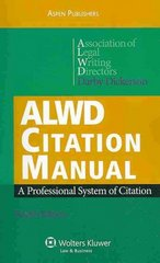 ALWD Citation Manual 4th edition 9780735589308 0735589305