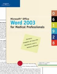 Microsoft Office Word 2003 for Medical Professionals 1st edition 9781418843205 1418843202