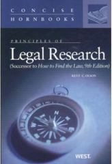 Principles of Legal Research 9th Edition 9780314211927 0314211926