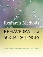Research Methods for the Behavioral and Social Sciences 1st Edition 9780470458037 0470458038