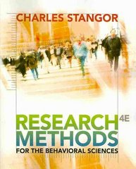 Research Methods for the Behavioral Sciences 4th edition 9780840031976 0840031971