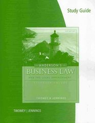 Study Guide for Twomey/Jennings' Anderson's Business Law Comprehensive and Standard versions, 21st Edition 21st edition 9780324829785 0324829787