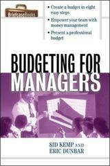 Budgeting for Managers 1st Edition 9780071391337 0071391339