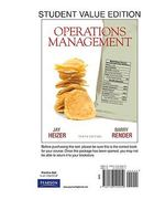 Operations Management, Student Value Edition 10th Edition 9780136120919 0136120911