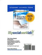 MySocialWorkLab with Pearson eText -- Standalone Access Card -- for The Policy-Based Profession 5th edition 9780205791002 020579100X