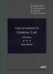 Cases and Materials on Criminal Law 5th Edition 9780314206459 0314206450