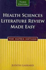 Health Sciences Literature Review Made Easy 3rd Edition 9780763771867 0763771864