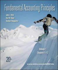 Fundamental Accounting Principles, Vol 1 (Chapters 1-12) 20th edition 9780077338251 0077338251
