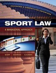 Sport Law 2nd Edition 9781934432006 1934432008