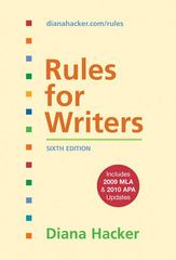 Rules for Writers with Tabs with 2009 MLA and 2010 APA Updates 6th edition 9780312664824 0312664826