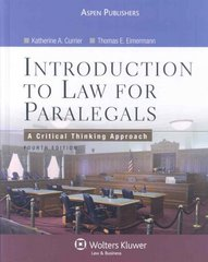 Introduction to Law for Paralegals 4th edition 9780735567191 0735567190
