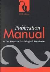 Publication Manual of the American Psychological Association 5th Edition 9781557988102 1557988102