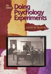 Doing Psychology Experiments 7th edition 9781111801533 1111801533