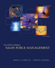 Sales Force Management 9th Edition 9780073529875 0073529877