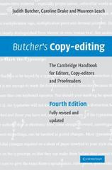 Butcher's Copy-Editing 4th edition 9780521847131 0521847133