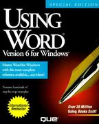 Using Word Version 6 for Windows, Special Edition 2nd edition 9781565294691 1565294696