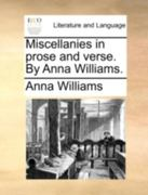 Miscellanies in Prose and Verse by Anna Williams 0 9781170494950 1170494951