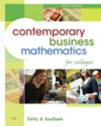 Contemporary Business Mathematics for Colleges, Brief Edition (Book Only) 15th edition 9780324595482 0324595484