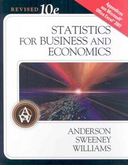 Statistics for Business & Economics, Revised (Book Only) 10th edition 9780324658354 0324658354