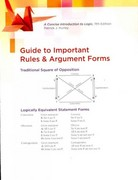 Stand Alone Rules and Argument Forms Card (for Bundles) 11th edition 9780840034182 0840034180