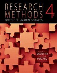 Research Methods for the Behavioral Sciences 4th edition 9781111342258 1111342253