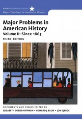 Major Problems in American History 3rd Edition 9781111343163 1111343160