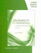 Student Solutions Manual for Devore's Probability and Statistics for Engineering and the Sciences 8th edition 9780840065391 0840065396