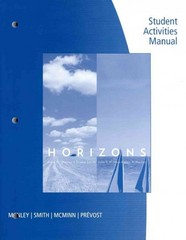 Student Activities Manual for Manley/Smith/McMinn/Prevost's Horizons 5th Edition 9780495912538 0495912530