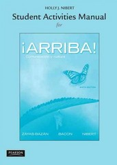Student Activities Manual for Arriba! 6th Edition 9780205740451 0205740456