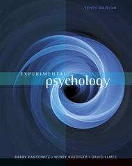 Experimental Psychology 10th edition 9781111357993 1111357994