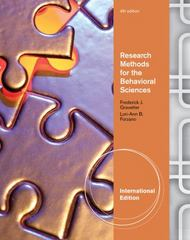 Research Methods for the Behavioral Sciences 4th edition 9781111342265 1111342261