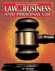 Law for Business and Personal Use 15th edition 9780538683531 0538683538