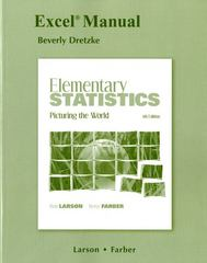 Excel Manual for Elementary Statistics 5th edition 9780321693808 0321693809