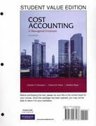 Cost Accounting, Student Value Edition 14th edition 9780132567466 0132567466