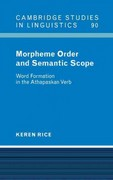 Morpheme Order and Semantic Scope 0 9780521583541 0521583543