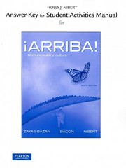 Answer Key for the Student Activities Manual for Arriba! 6th edition 9780205017546 0205017541