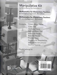 Manipulative Kit for Mathematics for Elementary Teachers 9th Edition 9780077430931 007743093X