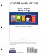 Financial & Managerial Accounting, Student Value Edition 3rd edition 9780132498029 0132498022