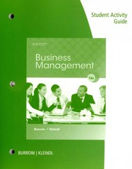 Student Activity Guide for Burrow/Kleindl's Business Management, 13th 13th edition 9781111573034 1111573034