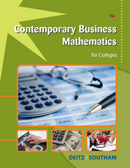 Contemporary Business Mathematics for Colleges 16th edition 9781133710431 1133710433