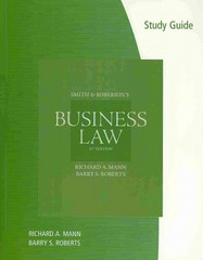 Study Guide for Mann/Roberts' Smith and Roberson's Business Law, 15th 15th edition 9780538475808 0538475803